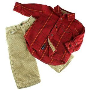 Baby Gap Red Plaid Flannel Top & Corduroy Pants B2